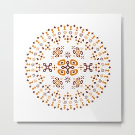 Mandala - Orange Metal Print