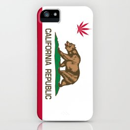 California Republic state flag with red Cannabis leaf iPhone Case
