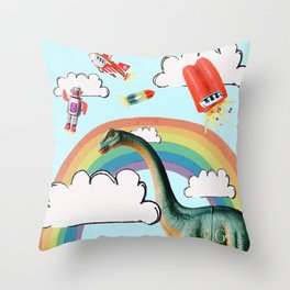 """""""busy skies"""", thought the dinosaur Throw Pillow"""