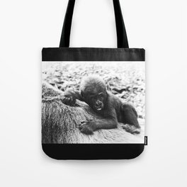Baby Gorilla Riding Mother's Back Vintage Black and White Look Tote Bag