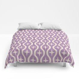 Mid century Modern Bulbous Star Pattern Lavender Comforters