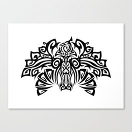 Tattoo with a fantasy bird. Mixed design of two styles: tribal and modern. Canvas Print