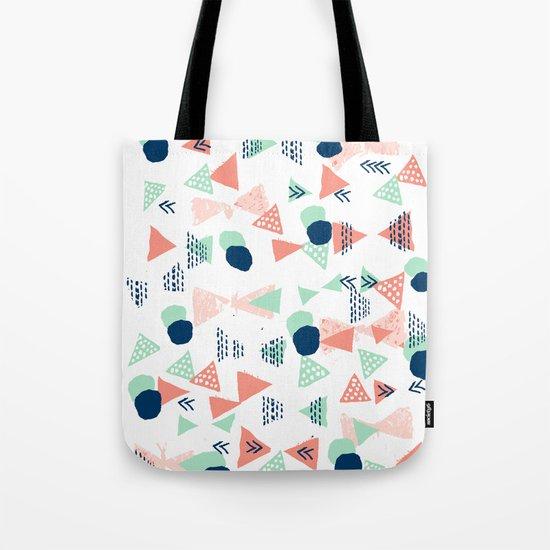 Navy painted shapes polka dots minimal basic decor mint peach and blue pattern Tote Bag