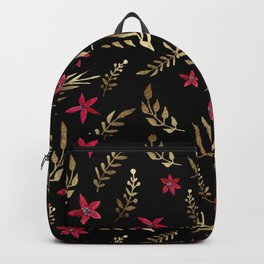 Golden palm tropical glitter leaves and red flowers on black Backpack