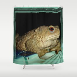 European Common Toad by Poolside At Night Shower Curtain