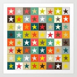 retro boxed stars Art Print