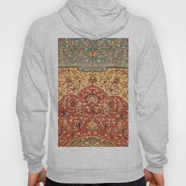 Flowery Vines I // 16th Century Contemporary Red Blue Yellow Colorful Ornate Accent Rug Pattern Hoody