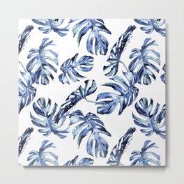Blue Palm Leaves Metal Print