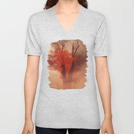 Last Red Leaves On Dark Branches Unisex V-Neck