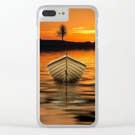 Row boat painting Clear iPhone Case