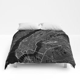 New York City Black Map Comforters