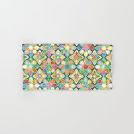 Gilded Moroccan Mosaic Tiles Hand & Bath Towel