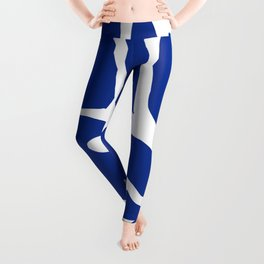 Blue shapes on white background Leggings