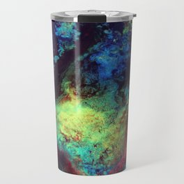 Titan Abstract Artwork, Contemporary Artist Design, Close Up Photograph, Bright Color Abstract Art Travel Mug