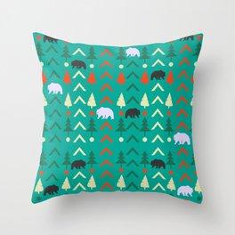 Winter bear pattern in green Throw Pillow