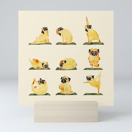 Pug Yoga Watercolor Mini Art Print