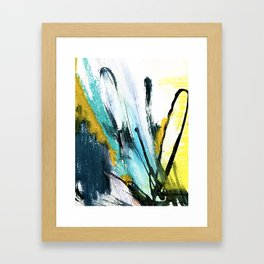 Splash: a vibrant mixed media piece in blues and yellows Framed Art Print