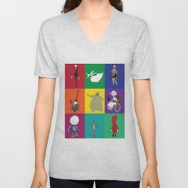nightmare before christmas characters Unisex V-Neck
