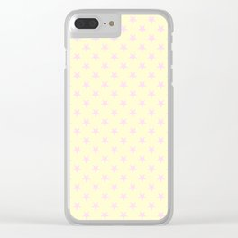 Pink Lace on Cream Yellow Stars Clear iPhone Case