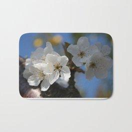 Close Up Of White Cherry Blossom Flowers Bath Mat
