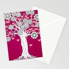 romantic tree on vinous Stationery Cards