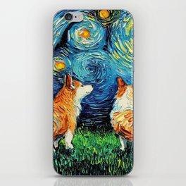 Corgi in Starry Night iPhone Skin