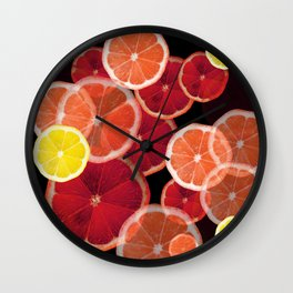 ABSTRACT MIXED CITRUS FRUIT SLICES ON BLACK ART Wall Clock
