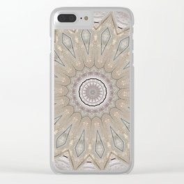 Country Style Mandala Over White Wood Clear iPhone Case