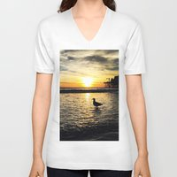 santa monica V-neck T-shirts featuring Seagull at Santa Monica Pier California by Bill Gallagher Art
