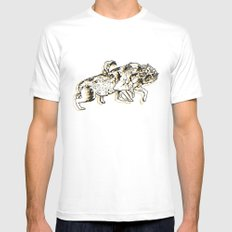 Wolves Fighting Mens Fitted Tee White MEDIUM