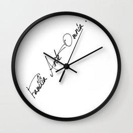 "Society6 Typography ""Familia ante omnia"" black text Wall Clock"