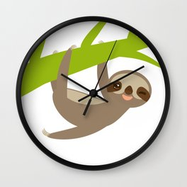 funny and cute smiling Three-toed sloth on green branch Wall Clock