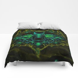Mythical Neon Yellow Wolf Comforters