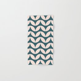 Geometric Leaf Shapes in Teal and Blush Hand & Bath Towel
