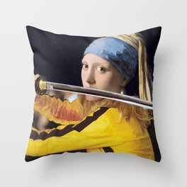 Beatrix Kiddo and Vermeer's Girl with a Pearl Earring Throw Pillow