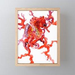 Seahorse red sea world art, corals, Coral red Scarlet Artwork Framed Mini Art Print