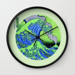 Great Wave Off Kanagawa Eruption Green Wall Clock