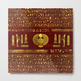 Golden Egyptian Scarab on red leather Metal Print