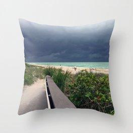Stormy Sky, Aqua Sea Throw Pillow