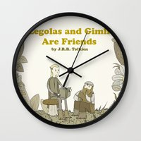 legolas Wall Clocks featuring Legolas and Gimli Are Friends by James E. Hopkins