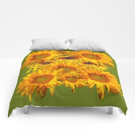 Avocado Color Sunflowers Abstract Art Comforters