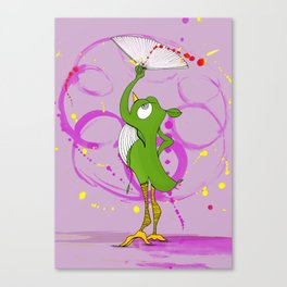 Pajaro with fan Canvas Print