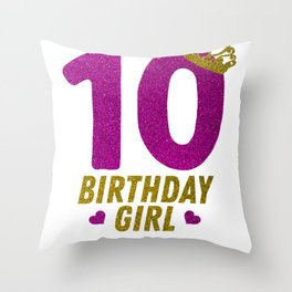 Princess 10Th Birthday Shirt For Girls 2008 10 Year Old Gift Throw Pillow