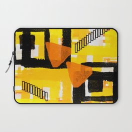 yellow orange white black abstract geometric digital painting Laptop Sleeve