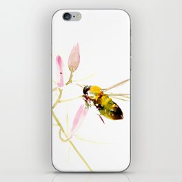 Bee and Pink Flowers iPhone Skin