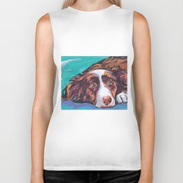 fun Border Collie Dog bright colorful Pop Art painting by Lea Biker Tank