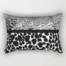 ANIMAL PRINT CHEETAH SPARKLE SILVER AND BLACK PATTERN Rectangular Pillow