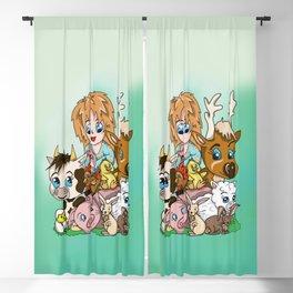 Happy Farm Sanctuary Friends with a Cute Vegan Girl Blackout Curtain