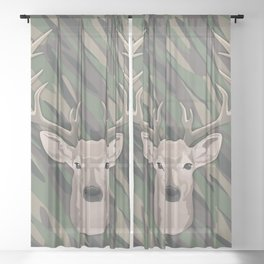 Beautiful buck dear head with big antlers Sheer Curtain