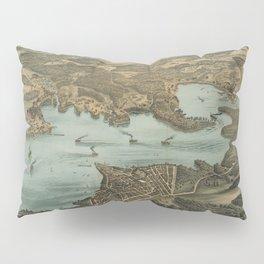 Vintage Pictorial Map of Lake Chautauqua NY (1885) Pillow Sham